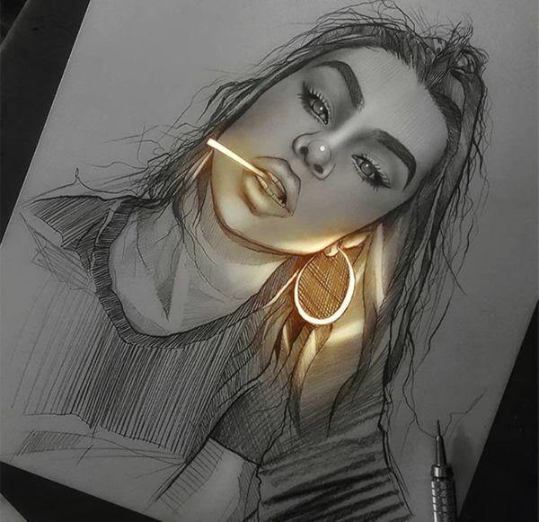 Художник заставил свои карандашные рисунки светиться изнутри