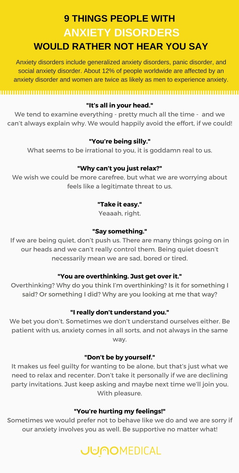 Infographic - 9 Things People with Anxiety Disorders Would Rather Not Hear You Say