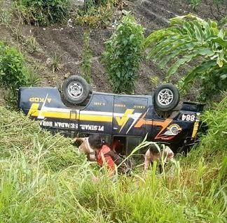 Bus CV Sinar Sepadan Horas saat masih didalam jurang
