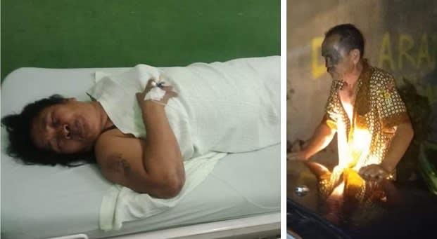 Masta boru Pasaribu kondisi luka luka dan Juniar Sirong-ringo Pengemudi Mobil Mitsubishi Kuda yang sudah diamankan