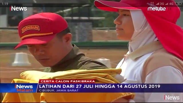 Silvya Kartika Putri pelajar asal kota Siantar mewakili Sumut saat latihan membawa Baki Paskibraka Nasional 2019 di Cibubur Jakarta. (Sumber photo : INews TV)
