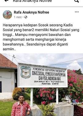 Postingan Kasi Rehsos M. Novri di Akun FB nya