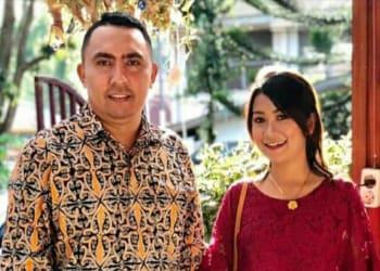 Caleg muda asal Kota Pematangsiantar dari Partai NasDem, Romeyan Ricardo Siahaan S Sos MM bersama istri, Ariesa boru Sinaga.