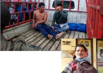 Kedua Perampok, Hasim dan Edi saat dimasukkan ke mobil pick up (photo atas). Korban Umum Tarigan di Mako Polres Siantar (Korban)