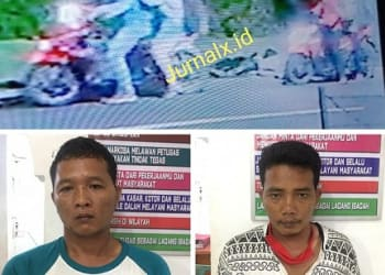Ketiga pelaku saat aksi perampokkan terekam CCTV (photo atas) dan dua pelaku yang ditangkap (photo bawah)