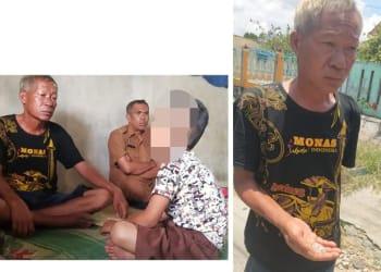 Korban APS bersama bapaknya Haibbon Siahaan dan lurah (Photo kiri). Bapak Korban Haibbon Siahaan menunjukkan bukti pecahan kaca mobil pelaku