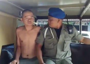 Penjaga Warnet GG Net diketahui Efendi diarak ke Kantor Sat Pol PP
