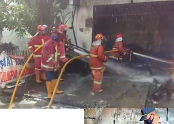 Petugas Damkar saat menyemprotkan kobaran api didalam Ruko dan Kapolsek Siantar Martoba IPTU Amir Mahmud,SH melihat jenajah kedua wanita