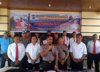 Kapolres Tanjung Balai AKBP Putu Yudha Prawira, SIK, MSI saat Press Relase
