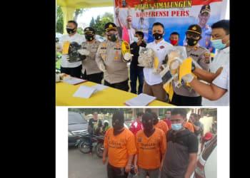 Kapolres Simalungun AKBP Agus Waluyo SIK memimpin Press Release (atas) dan Keempat Tersangka yang ditahan saat digiring (bawah)