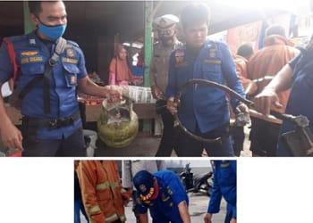 Petugas Damkar melihat tabung gas yang diduga bocor jadi penyebab RM Adamalika dan Warung Mie Balap nyaris terbakar
