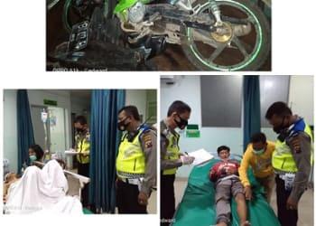 Barang bukti ketiga sepedamotor diamankan (Atas) dan kanit Laka AIPTU Baren Panjaitan melihat kondisi dua korban mengalami luka di Rumah Sakit
