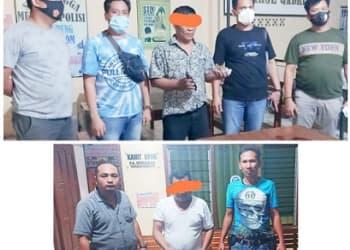 Pelaku T Bb alias Togap dan MP alias Mulyadi menunjukkan barang bukti diapit Timsus Sat Reskrim Polres Siantar