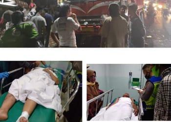 Dump Truk Mitsubishi BK 9141 LW masih di TKP dan dua orang mengalami luka ringan dirumah sakit