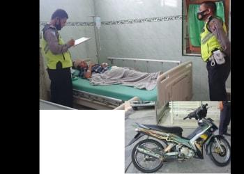Personil Unit Laka melihat kondisi Ikhsan Yusuf opname di RS Tiara dan Barang bukti Septor yang dikendarai diamankan