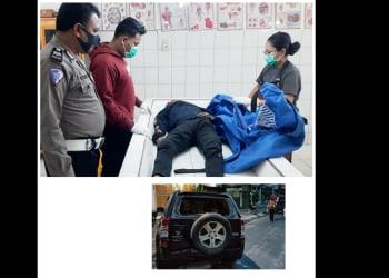 Kanit Laka AIPTU Baren Panjaitan melihat kondisi jenajah Glen Sopazio Marpaung diruangan jenajah RSUD dr Djasamen Saragih dan barang bukti mobil Suzuki Vitara BK 1401-JC yang ditabrak
