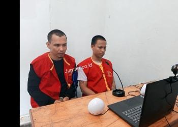 Terdakwa Boy Dora Samosir dan Dipa Pratama Hasibuan saat sidang virtual di Lapas Klas IIA Pematangsiantar
