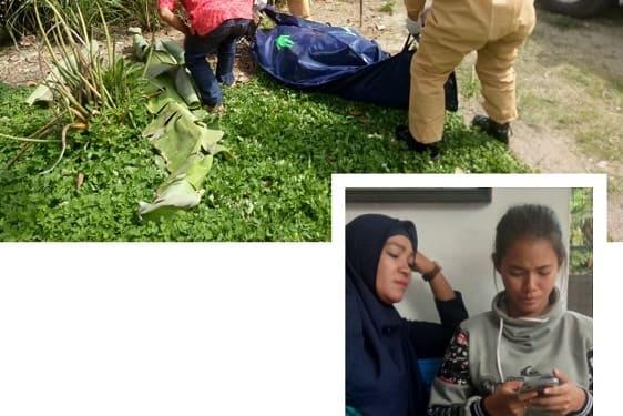 Jenajah Andre Damanik dievakuasi dari TKP (photo atas), Azhura isteri Andre Damanik dan ibu nya diruangan jenajah