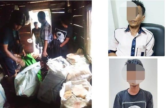 Tim gabungan saat menyita barang bukti ganja dan keempat anak buah oknum bandar yang ditangkap