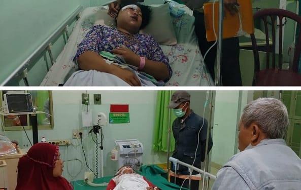 Amelia siswi SD dan ibunya Sri mengalami luka mendapatkan perawatan medis RS Vita Insani