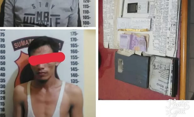 Tersangka Marisson Simalango alias Pak Hendra dan Alexsander Sihombing alias Alex  serta barang bukti