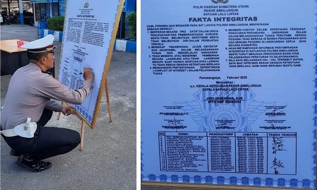 Kanit Regident IPDA Jonny Sinaga menandatangani Fakta Integritas