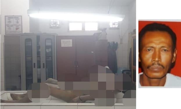 Mayat Sutrisman diruangan jenajah RSUD dr Djasamen Saragih Kota Siantar dan photo Sutrisman semasa hidup