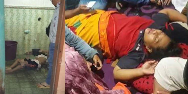 (Kiri) Jenazah Anggi Syahputri Tanjung, (kanan) ibu korban histeris.