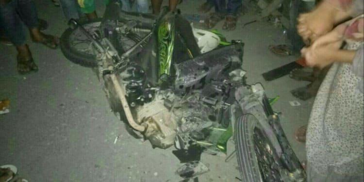 Sepeda motor korban di TKP.