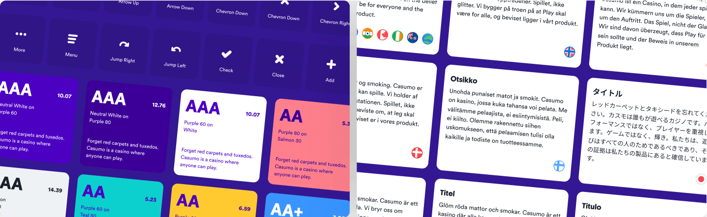 A preview of the work done for accessibility and line length testing for different languages