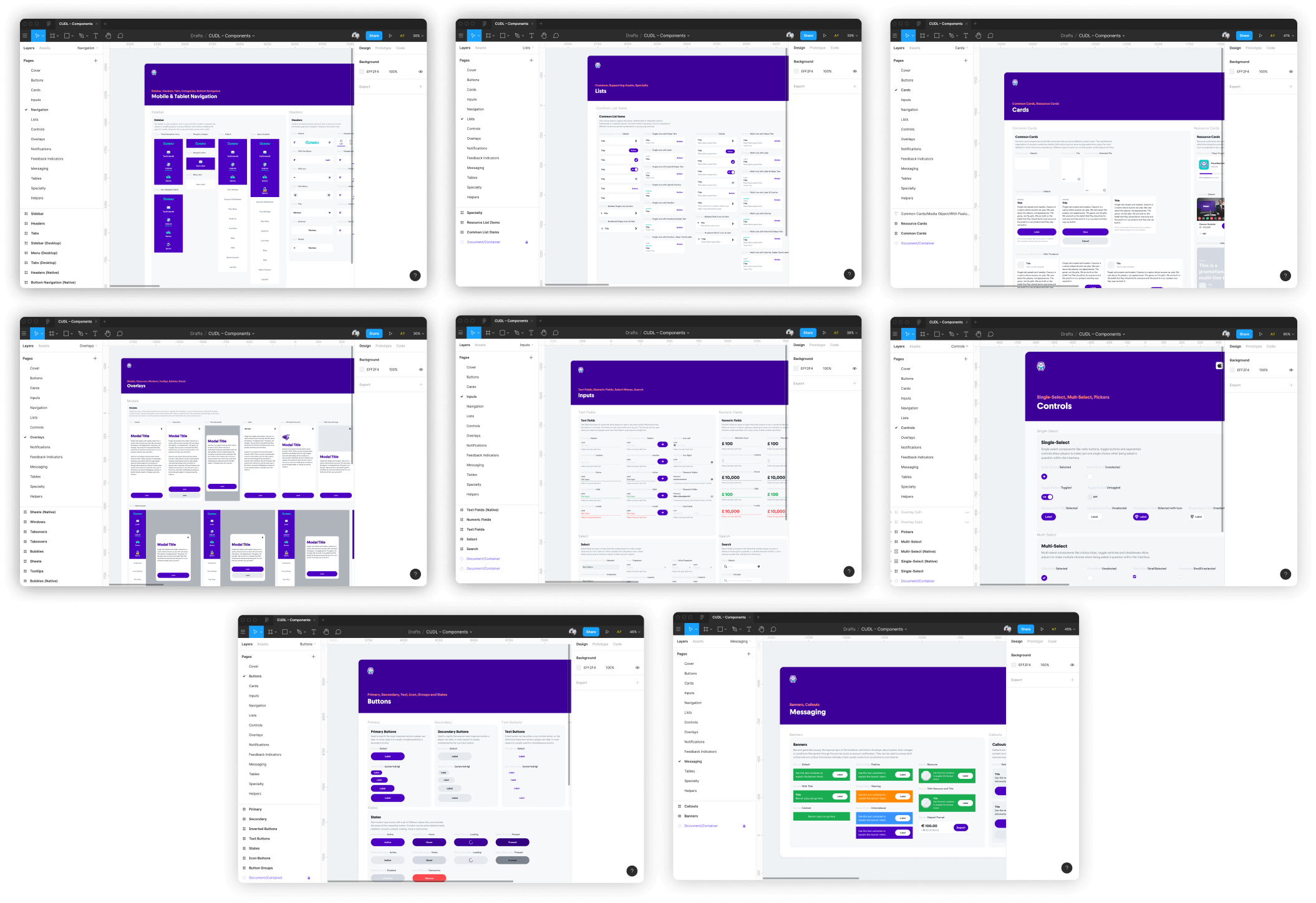 A preview of different component groups. Every component was organized by general categories these being: Buttons, Cards, Inputs, Navigation, Lists, Controls, Overlays, Notifications, Feedback Indicators, Messaging, Tables and Specialty. There was also a Helpers category I added which included frequently used containers such as mobile browsers, third party views, utilities and platform-specific items.