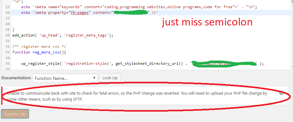 Unable to communicate back with site to check for fatal errors