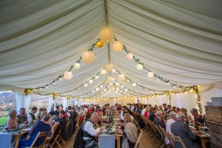 Traditional Marquee next to Loch Marquee wedding at Carrick Castle Esta