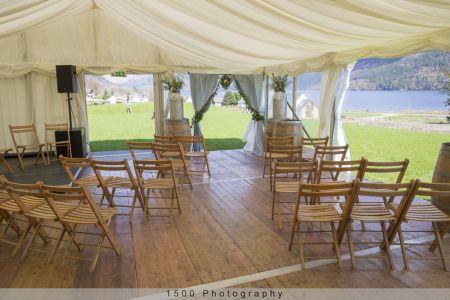 Carrick Castle Estate, Lodge & Barn Marquee wedding ceremony