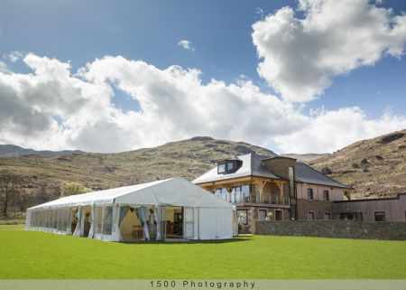 Carrick Castle Estate, Lodge & Barn Marquee in front of the main lodge