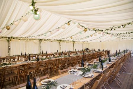 Traditional Marquee next to Loch Rustic theme
