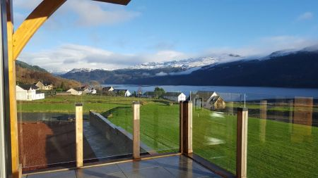 Traditional Marquee next to Loch Balcony views