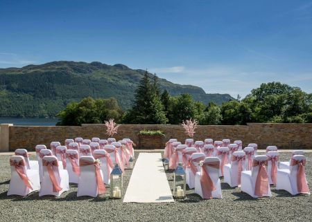 Rustic Romance in the Estate Barn Ceremony views of the loch