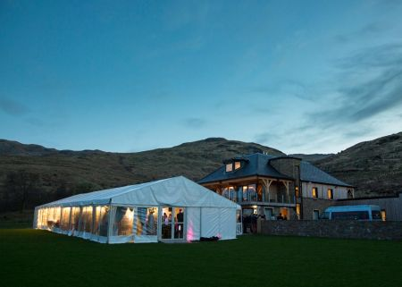 Traditional Marquee next to Loch The party continues