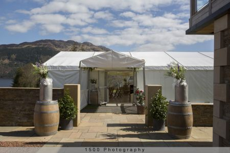 Carrick Castle Estate, Lodge & Barn Marquee with loch views