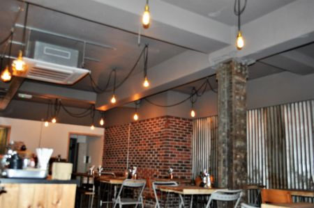 A cool & edgy coffee shop space