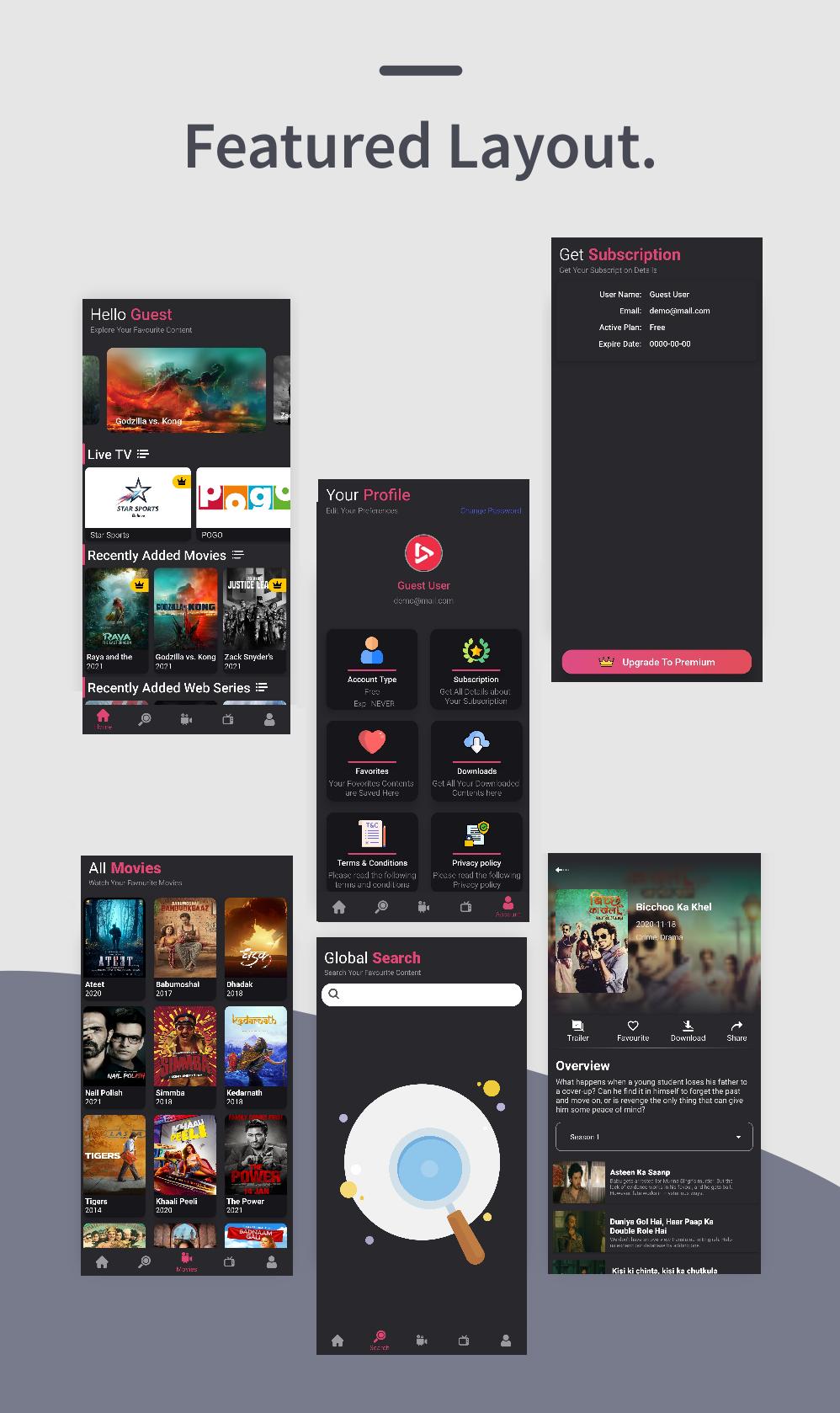 Dooo - Documentação do usuário do aplicativo de portal de séries de filmes e web