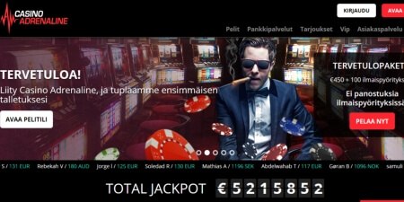 Casino Adrenaline kotisivut