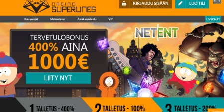 Casino Superlines kotisivut