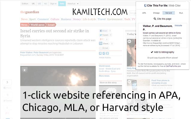 Cite-This-For-Me for Google Chrome | kamiltech.com