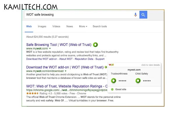 Web of Trust WOT for Google Chrome | kamiltech.com