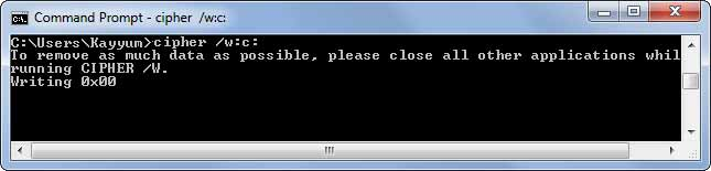 cipher /w:c: command in windows command prompt