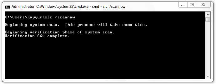sfc /scannow command in windows command prompt