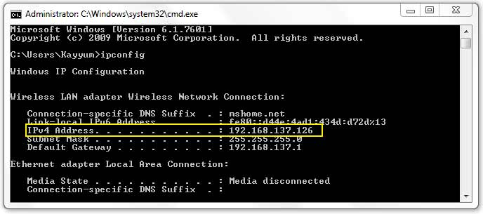 ipconfig command in windows command prompt