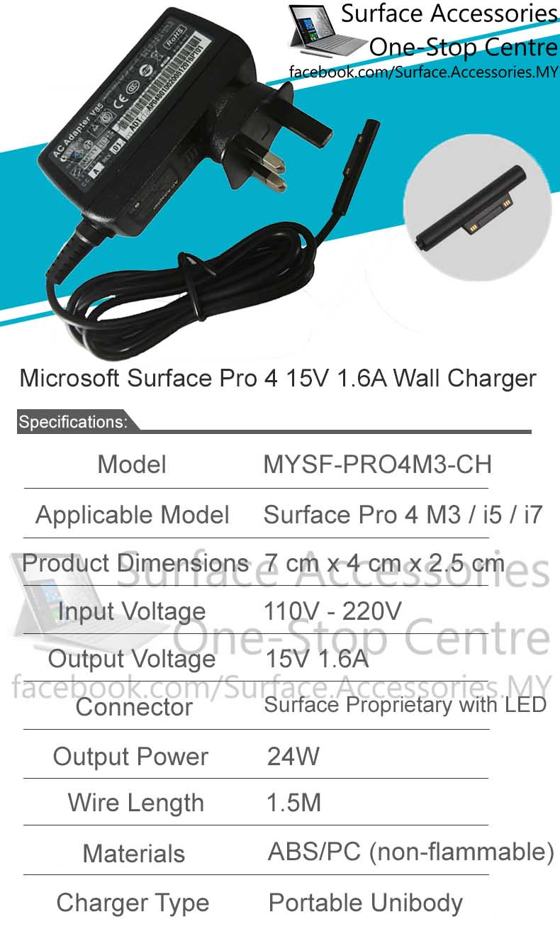MALAYSIA Charger Microsoft Surface Pro 4 Core M3 15V 1 6A Surface 24W  Charger Original Cable LED | PrestoMall - Cables & Adapters